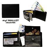Edle Geldbörse - Echtes Leder - Geldbeutel im Querformat schwarz - Das Original mit der Prägung 'my! WALLET' - Premium Collection (neu)