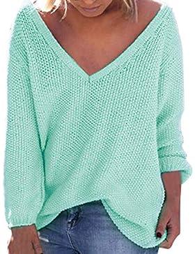 ZORE Women Sweater Otoño de la Mujer de Invierno Suelta Mangas largas con Cuello en V Jersey Tops Blusa