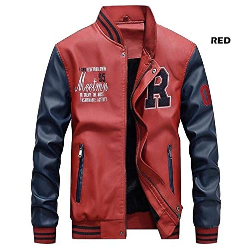 Herren Baseballjacke Herren Baseball Jacke Aus Besticktem Leder Pu Mantel Slim Sports Academy Wolle Pilot Jacke Stehkragen Jacke, Rot Wish103, L -