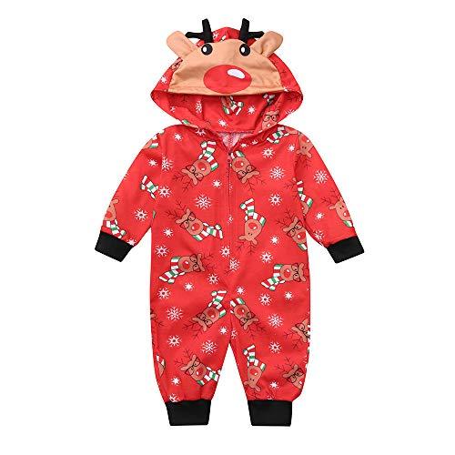 Ears Eltern-Kind-Pyjamas Weihnachten Kostüm Damen Baby Mädchen Junge Vater Mutter Langarm-Kapuzen-Weihnachtshirsch-Print-Overall Hausservice Herren Rentier Mit Kapuze Family Pyjamas Anzug