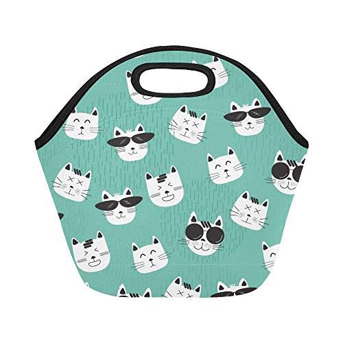 Isolierte Neopren-Lunchpaket Funny Cats Faces Sonnenbrillen große wiederverwendbare thermische dicke Mittagessen-Tragetaschen für Lunch-Boxen für im Freien, Arbeit, Büro, Schule