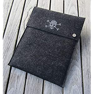 zigbaxx Tablet Hülle DARK ZONE Case Sleeve Filz u.a. für iPad 9.7, iPad Pro 9,7/10,5/11 Zoll (2018), iPad mini 2/3/4, iPad Air, 100% Wollfilz pink schwarz beige grau braun – Geschenk Weihnachten