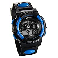 JewelryWe Multi-function Digital Sports Wrist Watches for Ages 6-18 Kids Boy Girl with Black Blue