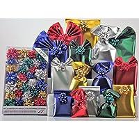 Set de paquetes para regalo.Kit Small Satin -30sobres de polipropileno de colores surtidos con cierre adhesivo y 30lazos a juego. Adecuado para regalos de Navidad.