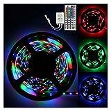 Dimmbar 5m LED Streifen Set 300 LEDs Lichtband mit Netzteil , 3528 SMD Strip Kit Licht Band Leiste Lichtleiste , 12V Innenbeleuchtung für Deko Party Küche Weihnachten + 44 schlüssel IR Fernbedienung (Nicht wasserdicht)