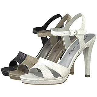 Tamaris Sandaletten 1-28007-20 Damen Plateau Riemchen High Heels, Schuhgröße:39;Farbe:Beige