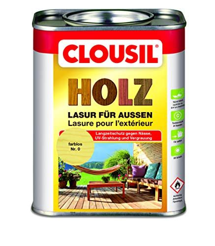 CLOUsil Holzlasur Holzschutzlasur für außen farblos Nr. 0, 0.75L: Wetterschutz, UV-Schutz,...