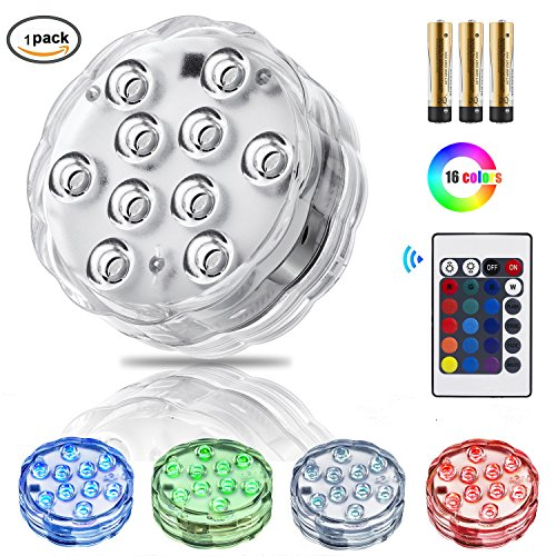 Zhuofu Submersible Pool Led Lights with IR Remote Controlled 10-LED RGB and Waterproof Battery Powered Light for Vase Base,Pond,Party,Hot Tub,Inground pool,Fountain,Christmas,Halloween (1)
