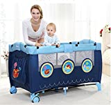 Lvbeis Kinderreisebett klappbar mit Rollen Multifunktion Spielbett,Blue