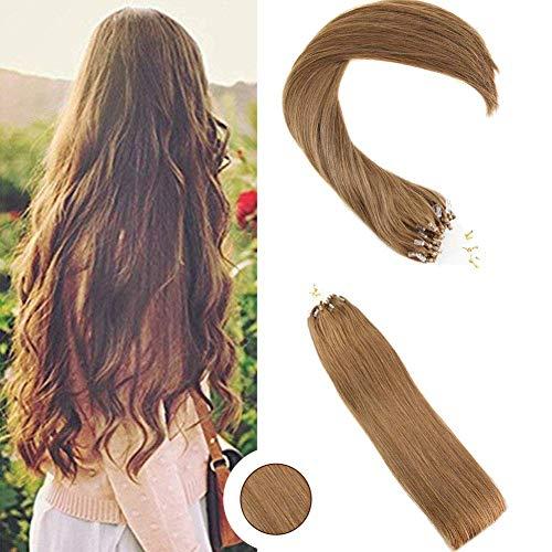 Ugeat 20 zoll Micro Ring Hair Extensions 100gram 1g/s Hellbraun Haar Extensions Echthaar Microring