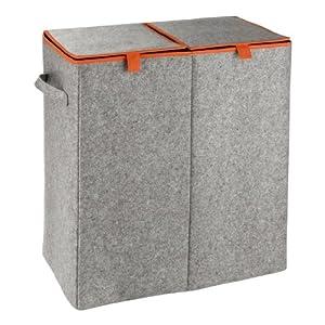 WENKO 3440402100 Wäschesammler Filz Duo-/Wäschekorb, 2 Kammern und Klappdeckel Fassungsvermögen: 82 l, Filz, 52 x 54 x 28 cm, grau/Orange