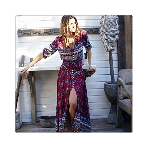 ASILAX& 2019 Women Summer Bohemian Tunic Floral Party Beach Long Maxi Dress Sundress Half Sleeve Spaghetti Strap Long Dress Wine L Open-back Ankle Boots