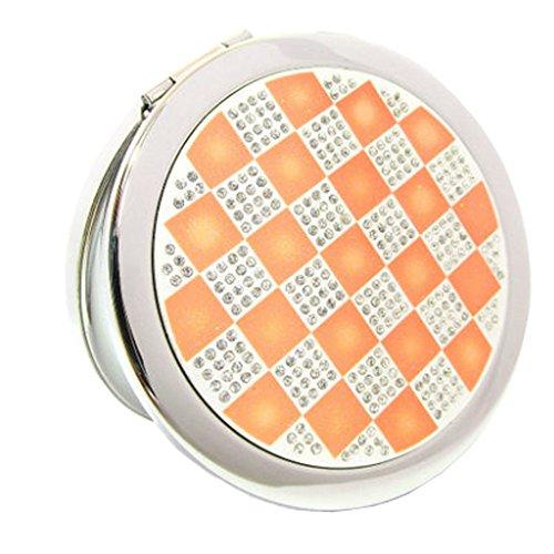 Élégant simple Grille Double Cosmetic Mirror Mirror Maquillage Portable, Orange
