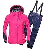 emansmoer Damen Skianzug Wasserdicht Outdoor Wintersport Schneejacke Frauen Kapuze Baumwolle gepolstert Mantel mit Skihose Salop
