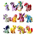 YIGO 3-7cm New Pony model Cake Toppers Cupcake 12 piece Set Toys Figurines Playset for Life ornaments, Gift Giving