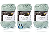 Schachenmayr Catania Wolle 3x50 Gr, 100% Baumwolle + 1 Eulen Knopf (Farbreihe 400-499) (402 Reseda)