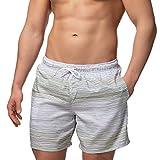 Occulto Herren Männer Badehose in vielen Farben | Badeshort | Bermuda Shorts | Beachshort | Slim Fit | Schwimmhose | Boardshort | Jungen (S, Grau/Grün)