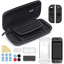 iAmer 11 en 1 Nintendo Switch Accessoire , Etui Nintendo Switch+ Protecti wiion Transparente pour Nintendo Switch + 3 Switch Protection écran + Protection en Silicone pour Joy-Con + Grip pour joy Con + Boitier pour cartouche de jeux + Nettoyage écran
