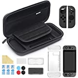iAmer 11 in 1 Starter Kits for Nintendo Switch, Nintendo Switch Carrying Case+Transparent Switch Cover+3 Switch Screen Protector+Silicon Joy-Con Cover+Thumb Grips Caps+ Game Card Case+Screen Wipe