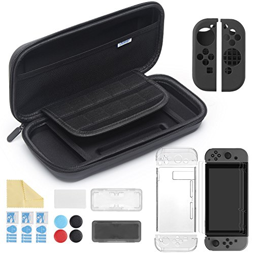 iAmer Kit 11 in 1 Set Accessori per Nintendo Switch, Custodia Nintendo Switch + Cover Trasparente Posteriore + 3xPellicole Schermo Switch+ Cover Joy-Con Silicone + 2 Cappucci per Levette + 2 Custodia per Cartucce Gioco + Panno Pulizia