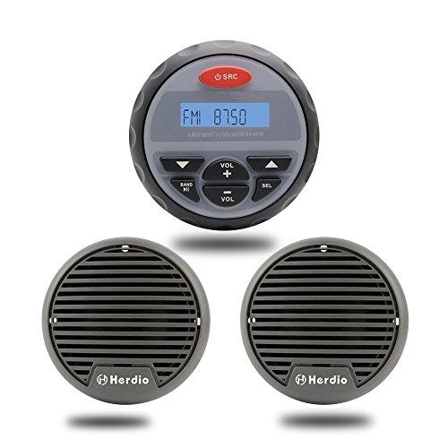 Wasserdicht Radio Marine Stereo Audio Bluetooth MP3 Sound System für Boot ATV Motorrad Radio FM AM + 7,6 cm Wasserdicht Lautsprecher