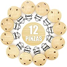 RUBY- 12 Pinzas de Madera Clips Pinzas de Chupete para Niños Bebés