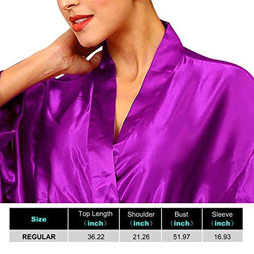 Dolamen Unisex Kimono Robe Femmes Homme, Femmes Chemises de nuit, Robe peignoir en satin de soie Robe de nuit , Buste 132cm, 51.97 pouces, grande taille pour tout le monde Violet