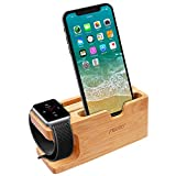 Apple Watch Ladestation, Aerb iWatch Bambus Holz Ladestation Halterung Docking Station Lager Cradle Holder W Name card Slot for Apple Watch and iPhone 8/8 plus 7/6/5,Galaxy S7/S7 Edge