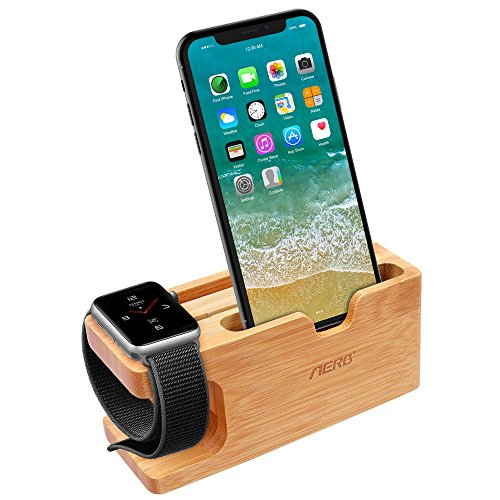 Apple Watch Ladestation, Aerb iWatch Bambus Holz Ladestation Halterung Docking Station Lager Cradle Holder W Name card Slot for Apple Watch and iPhone 8/8 plus 7/6/5,Galaxy S7/S7 Edge (Iphone-apple Watch)