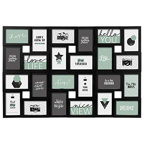 Pêle-mêle - Marco de fotos (capacidad para 24 fotos), diseño de tablón de anuncios, color negro