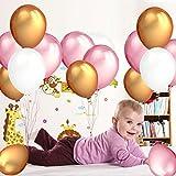 BELLE VOUS Luftballons für Geburtstag 105-tlg. Dekorationen-Set 30,5cm Gold, Rosa u. Weiße Party Latex-Ballons und Folienballons Geburtstag, Kinder-Partys, Baby-Partys, Abschluss- u. Hochzeitsfeiern - Dekor Zubehör