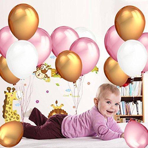 Globos de Látex (105 Piezas) 12 Inch | 30,5cm - 34 Globos Dorados, 34 Rosa, 34 Blanco Perla - 3 Globos de Corazón Cumpleaños de Niños, Bodas, Graduaciones, Baby Shower Fiestas Decoración Kit