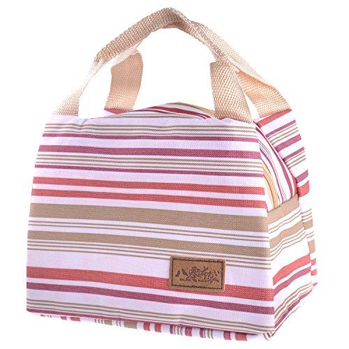 Pieghevole isolato termico lunch box Cooler bag Cooler impermeabile riutilizzabile, con tracolla, per campeggio esterno scuola lavoro ufficio e viaggi m M - Rose red S-Red Stripe