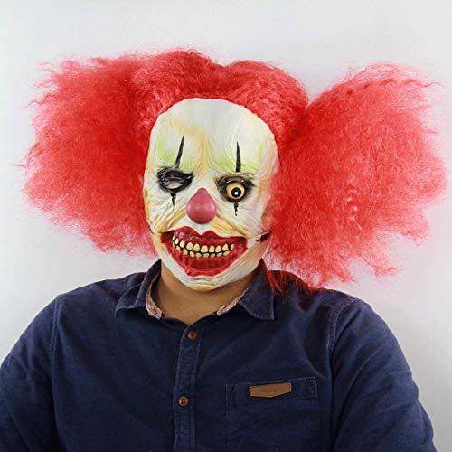 Ellyeall Gänsehaut Masken Böse Teufel Maskerade Maske Grausige Ghost Ghoul Maske Mit Roten Perücken Für Halloween Kostüm Dekoration Prop - Kostüm Mit Roten Perücken