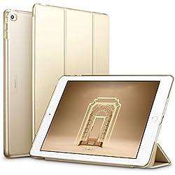 ESR Coque pour iPad Air 2, Smart Cover Case Housse Étui de Protection Rigide Utlra Fin avec Support Intégré Multi-Angle avec Mise en Veille Automatique pour iPad 9,7 pouces 2014 (Or Champagne)