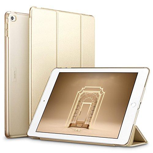 ESR iPad Air 2 Hülle, Auto aufwachen/Schlaf Funktion Wickelfalz Ledertasche mit Lichtdurchlässig Rückseite Abdeckung Schutzhülle für iPad Air 2 / iPad 6 (Champagner Gold)