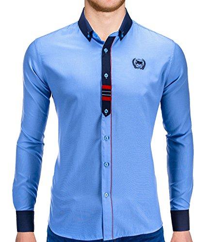 Better Sleep tylz fedrobz Slim Fit Camicie Camicia da uomo a maniche lunghe il tempo libero Business contrasto ierte Akzente in div. colori (S-XXL) blu cielo XL