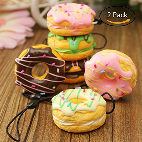 Baradu PU Foam Slow Rising Dessert Lover Foodies Charms Straps Scented Donut Squishy Bread (Random) - Pack of 2