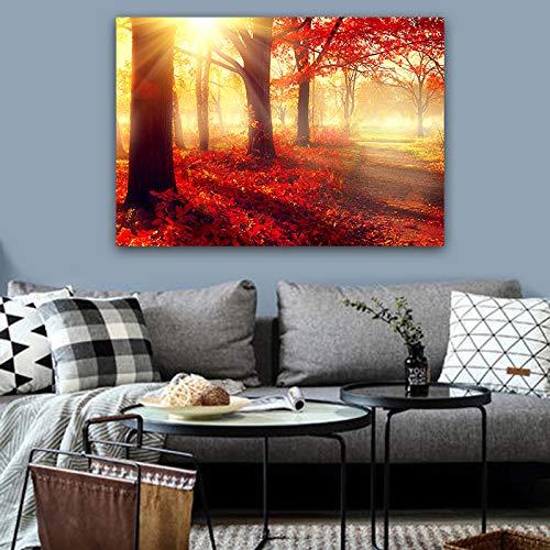 Rote landschaft leinwand malerei wandkunst bild wald poster und druckgrafik dekoration malerei kunstdruck auf leinwand (kein rahmen) A5 30x40 CM
