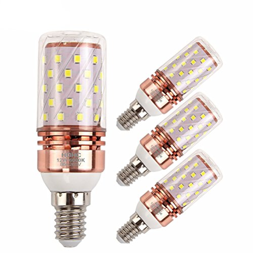 Bomnilla LED E14 12W Equivalente 100W incandescente bombillas, 6000K blanco frío 1000LM AC85-265V, Lámpara de vela decorativa E14, 4 Piezas