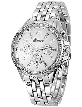 XLORDX Geneva Designer Strass Damenuhr Uhr Chronograph Optik Strassuhr Blogger Bloggeruhr Silber