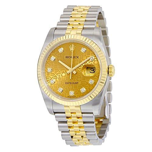 Rolex Automatisch Champagner Edelstahl Datejust Jubilee Gelb Stahl Uhr Herren 18kt Gold Zifferblatt und