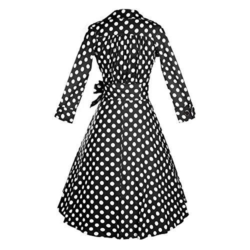 JOTHIN Damen 1950s Retro Rockabilly Kleid Langarm Frauen Einfarbige ...