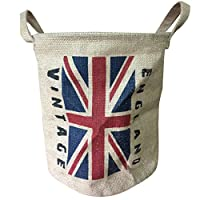 Condello Casa Collapsible Vintage Round Burlap Woven Storage Basket Bin Jute Toy Bucket Organizer Linen Food Container Holder with Handles,Flags for Home Closet Cabinet Shelves,Room Table (England)