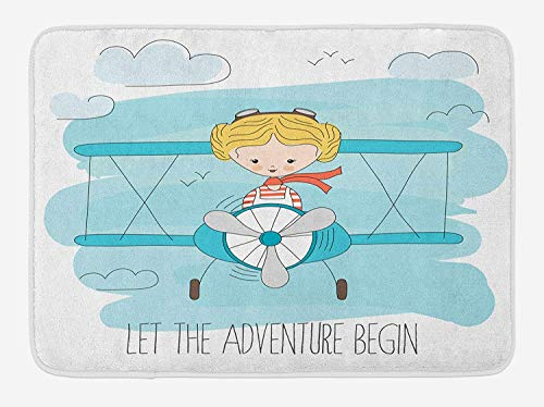 Doormats Adventure Bath Mat, Cute Girl Flying a Plane on Sky Cartoon Child Dream Imagination, Plush Bathroom Decor Mat with Non Slip Backing, 23.6 W X 15.7 W Inches, Baby Blue Yellow Dark Coral
