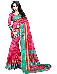 Vatsla Enterprise Women's Cotton Saree With Blouse Piece(VPYSPINKSAREE_PINK_COLOUR)