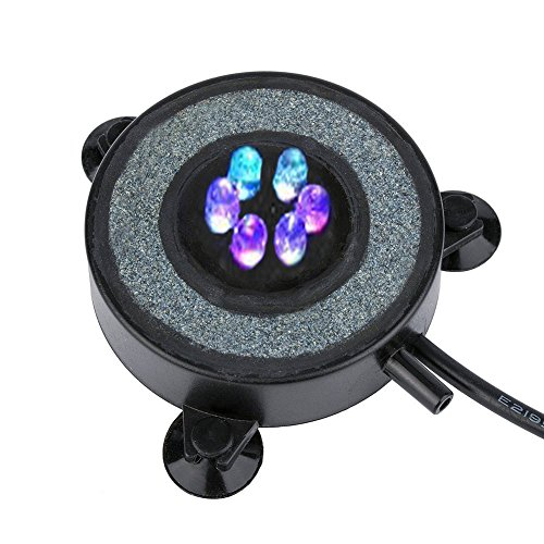 NICREW Multi-Colored LED Aquarium Air Stone Disk, Round Fish Tank Bubbler with Auto Color Changing LEDs Test