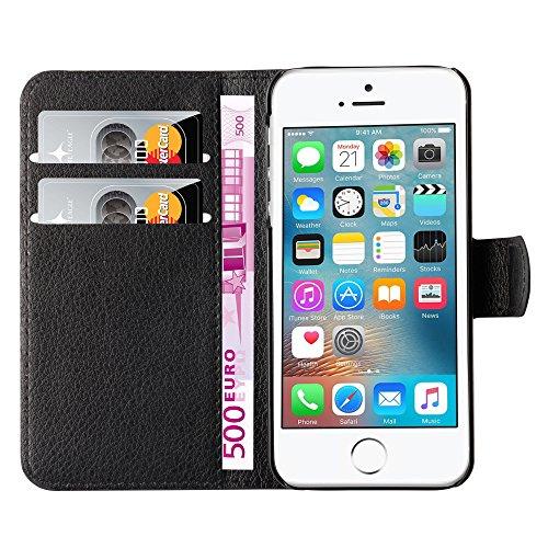 Hochwertige Kunst-Leder-Hülle mit Magnetverschluss für Apple iPhone SE von mangao® Case Handytaschen