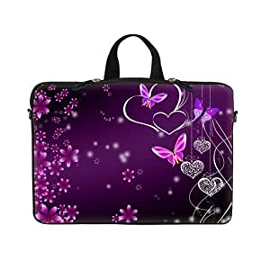 17 17.3 inch Pink Flower Butterfly Design Laptop Sleeve with Hidden Handle & Eyelets (D-Ring) Bag Carrying Case for 17