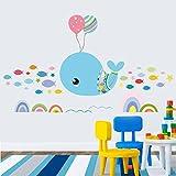 RUIPENGPENG Wandbild Zitat Aufkleber Aufkleber wasserdicht Abnehmbare für Wohnzimmer TV Hintergrund Kinder Baby Nursery die Happy Dolphin Kinderbett Zimmer Bad Fliesen wasserdicht Cartoon